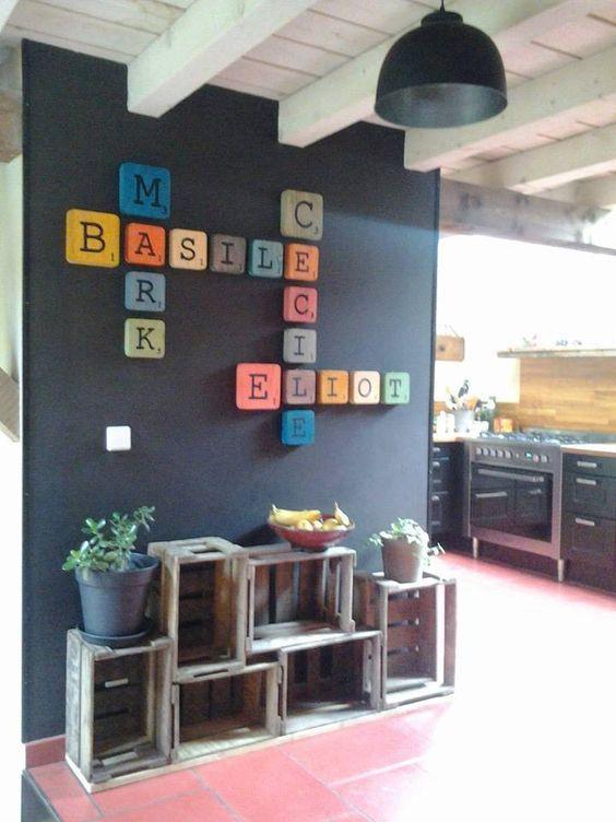 Lettres rétros Scrabble déco en bois! A suspendre ou à poser, pour - peindre un mur en bois