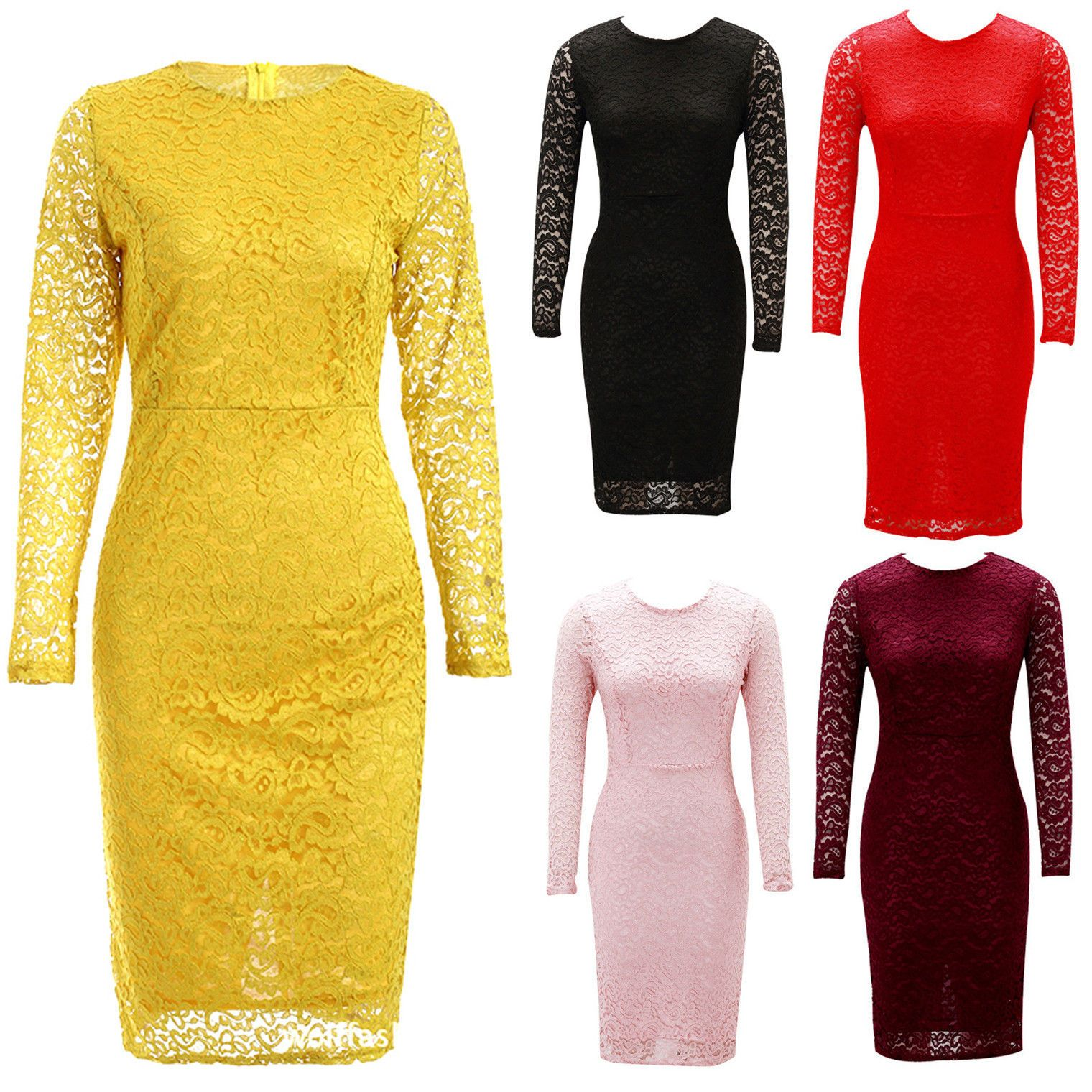 Fashion Women Lace Hollow Long-Sleeve Slim Cocktail Party Pack Hip Dress Wow