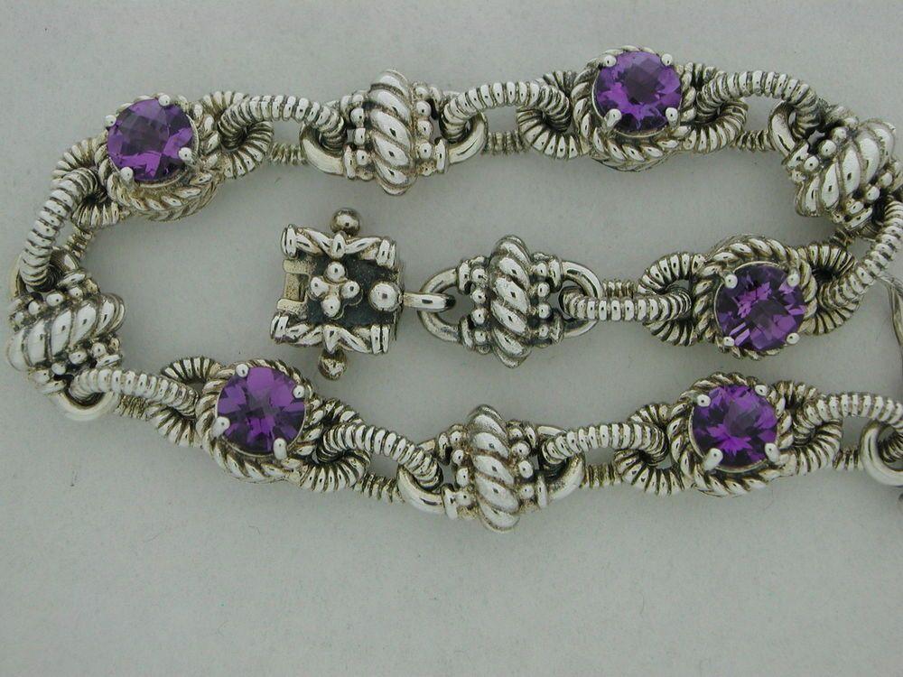 Genuine Amethyst  Bracelet  Sterling Silver  An Antique Finish