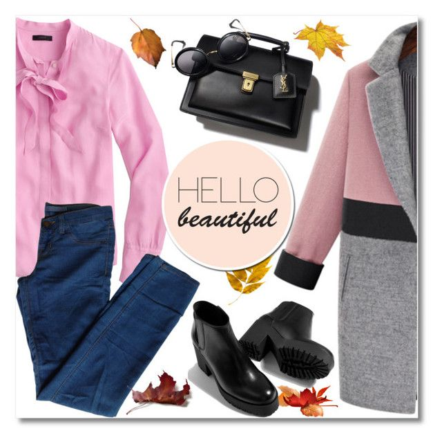 """Fall Trend: Necktie Blouse"" by oliverab ❤ liked on Polyvore featuring J.Crew, J Brand, Piel Leather and falltrend"
