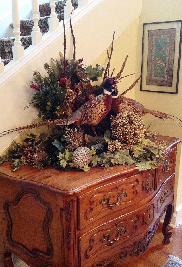 Autumn cottage pheasant floral centerpiece table or