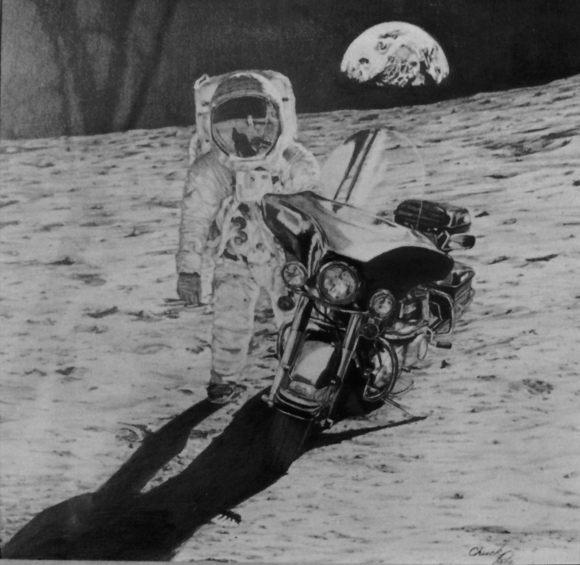"Fantasy 16x16"" pencil drawing of Astronaut H.Davidson on the Moon. 1979 @Herron School of Art& Design"
