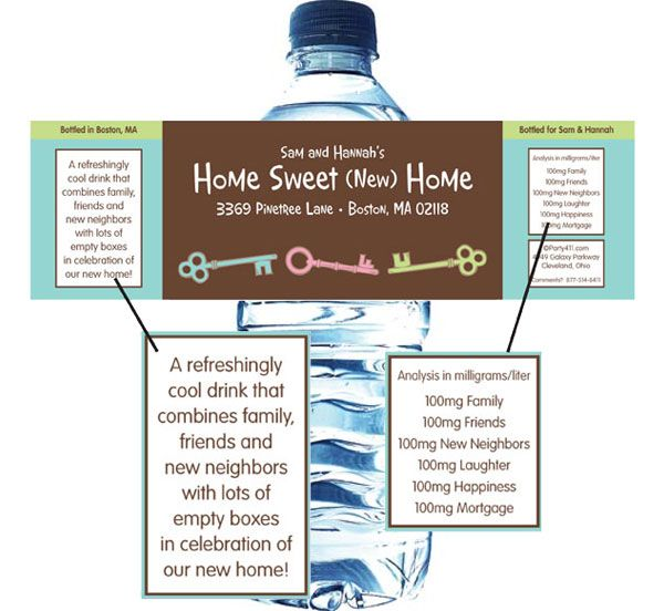 Housewarming Theme Water Bottle Label Personalized