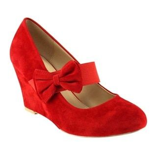 b0e950bd9f6 Shop for PAZZLE GC93 Women s Mary Jane Bowknot Deco Wedge Heel Pumps ...