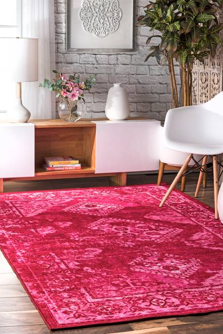 Ashlina Overdyed Tribal Diamond Pink Rug Round Rug Living Room Pink Rug Living Room Rugs In Living Room