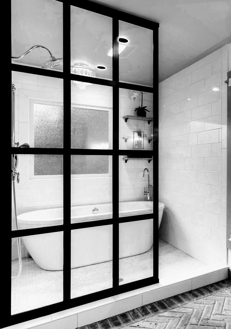 Lighting Basement Washroom Stairs: Black And White Gridscape® Series Industrial Shower Door