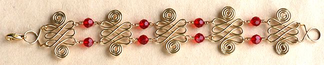 Double Spirals Jewelry Wire & Beads Bracelet made using WigJig jewelry tools out of common jewelry supplies.