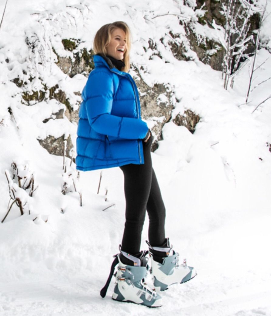 down jacket and ski boots