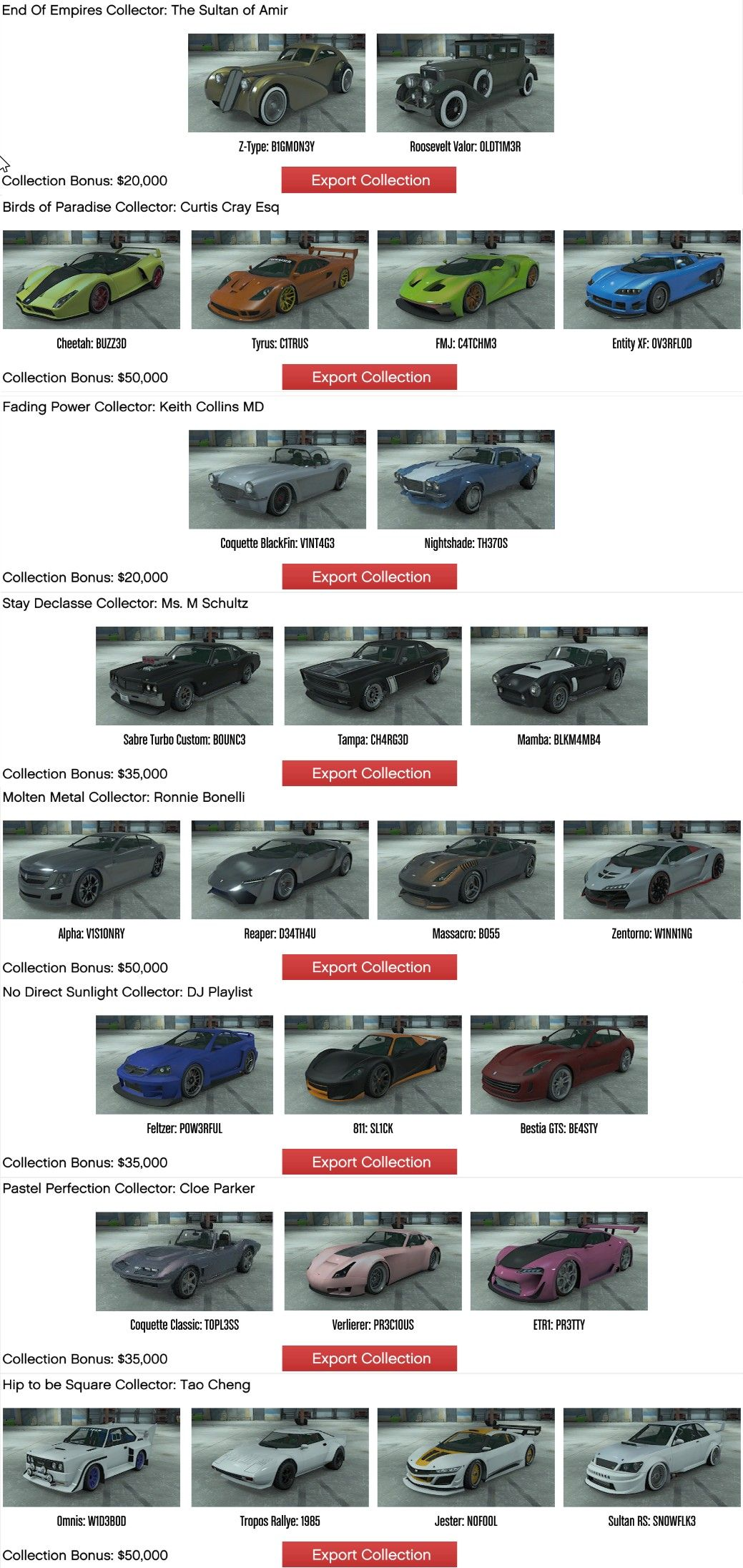GTA5 car collectables CEO Export Collection... Posted
