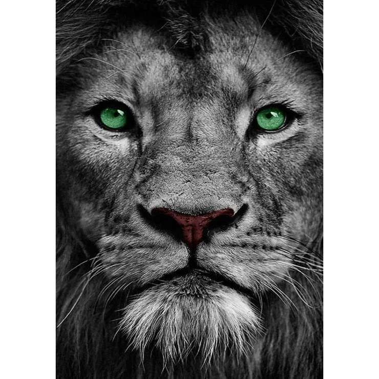 Diamond Painting - Full Round - Green Eye Lion