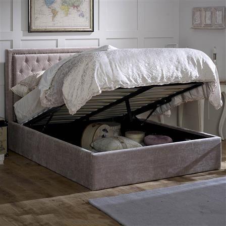 Rhea Double Upholstered Ottoman Bed Frame Mink Choose Set