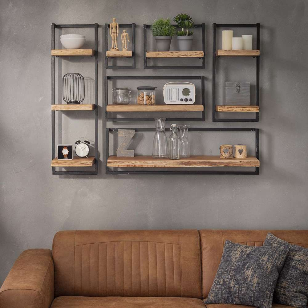Vintage Wandregal 20 Cm Breit Akazie Massivholz Metall Regal Aufbewahrung Ideen Kleiderschrank Aufbewahr Wall Shelf Decor Diy Wood Shelves Wall Shelves Design