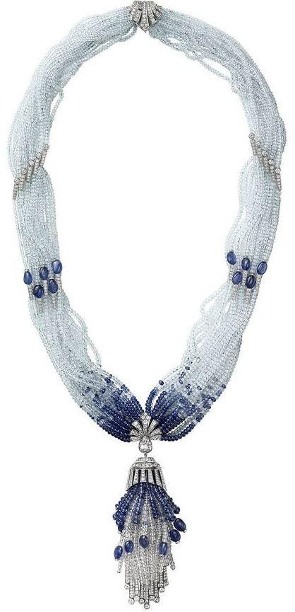 Cartier diamond and sapphire bead necklace,  beaded tiara
