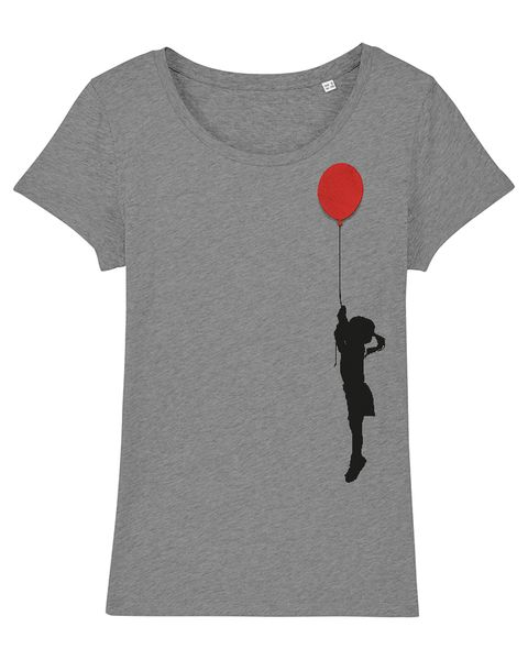 Photo of What about Tee – Girls with Balloons – Ladies' T-Shirt with Wooden Brooch | Avocadostore