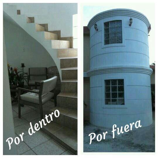 Escalera hacia el segundo piso vista por dentro y por for Escaleras para caminar fuera del jardin