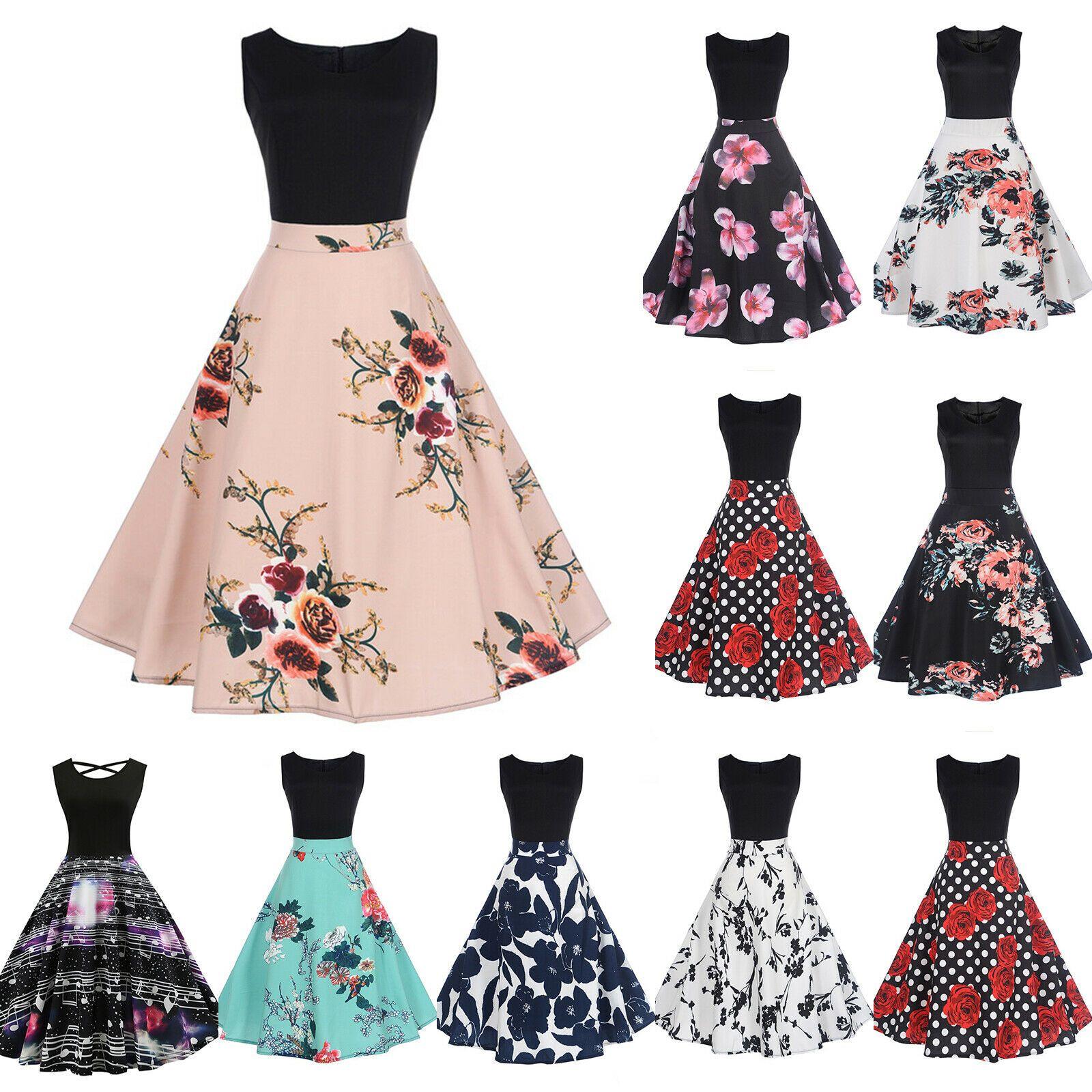 Damen 50er Rockabilly Trägerkleid Vintage Petticoat Kleider Tanzkleid Partykleid
