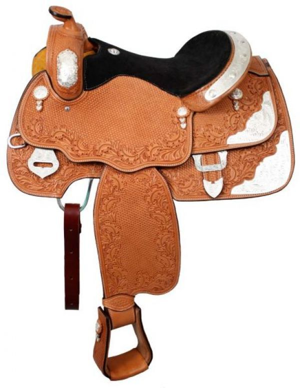 Western Show Saddle fully tooled with suede seat. Saddle is fully tooled with leaf tooling and basketweave tooling. Features inskirt rigging.