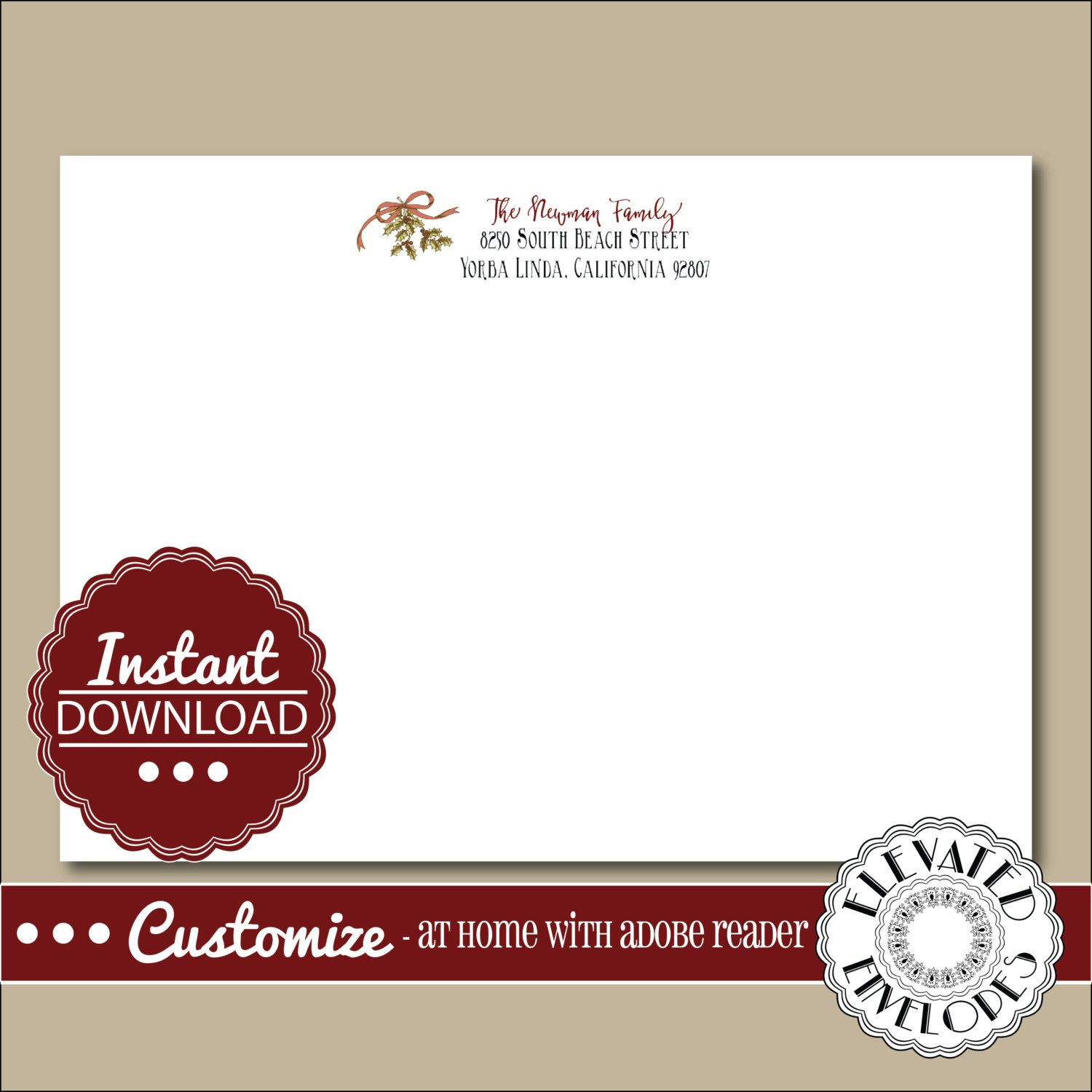 Editable Christmas Envelope TemplateChristmas Envelope Addressing