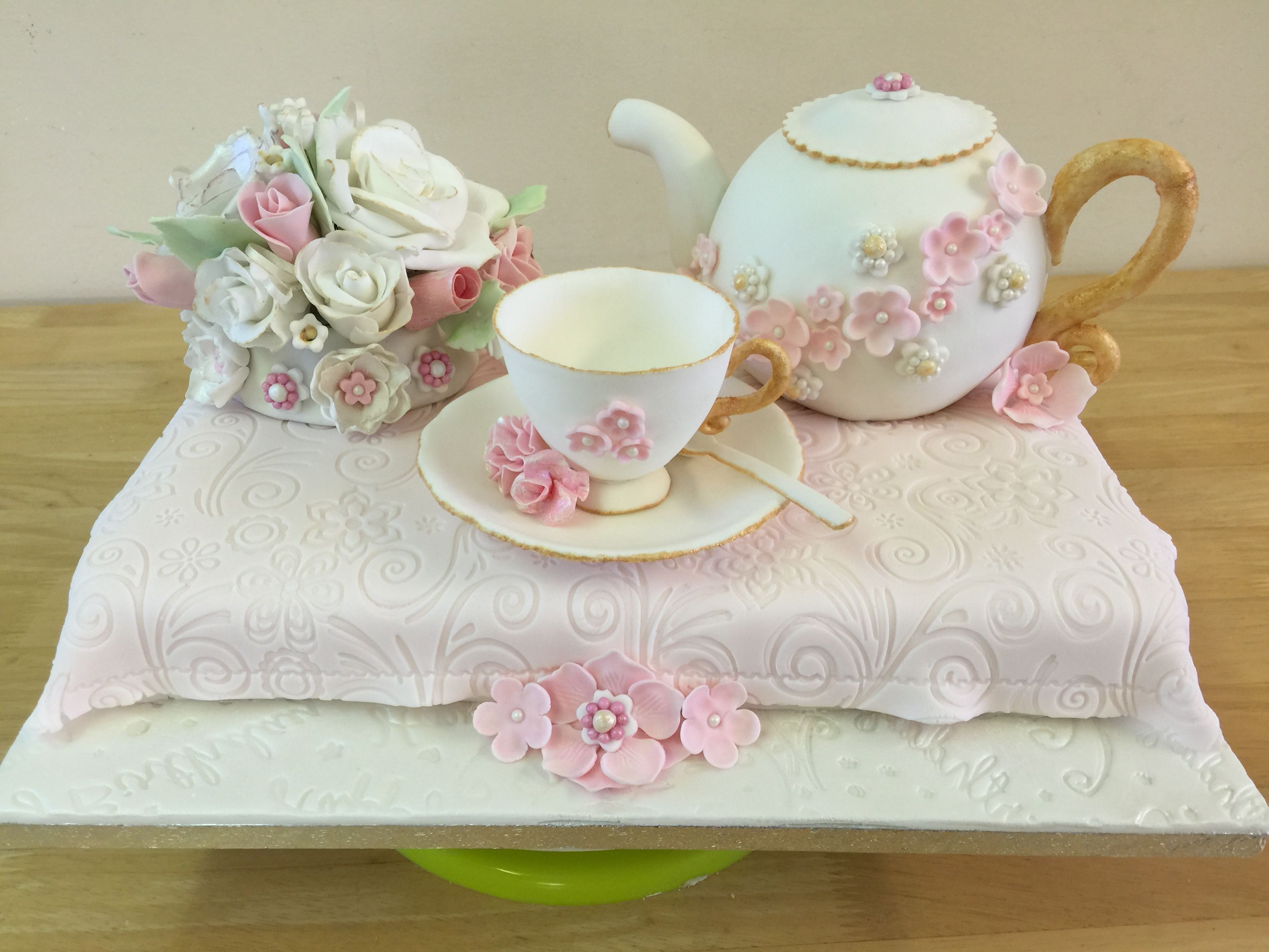 Teapot Cake With Gumpaste Tea Cup Saucer Spoon And