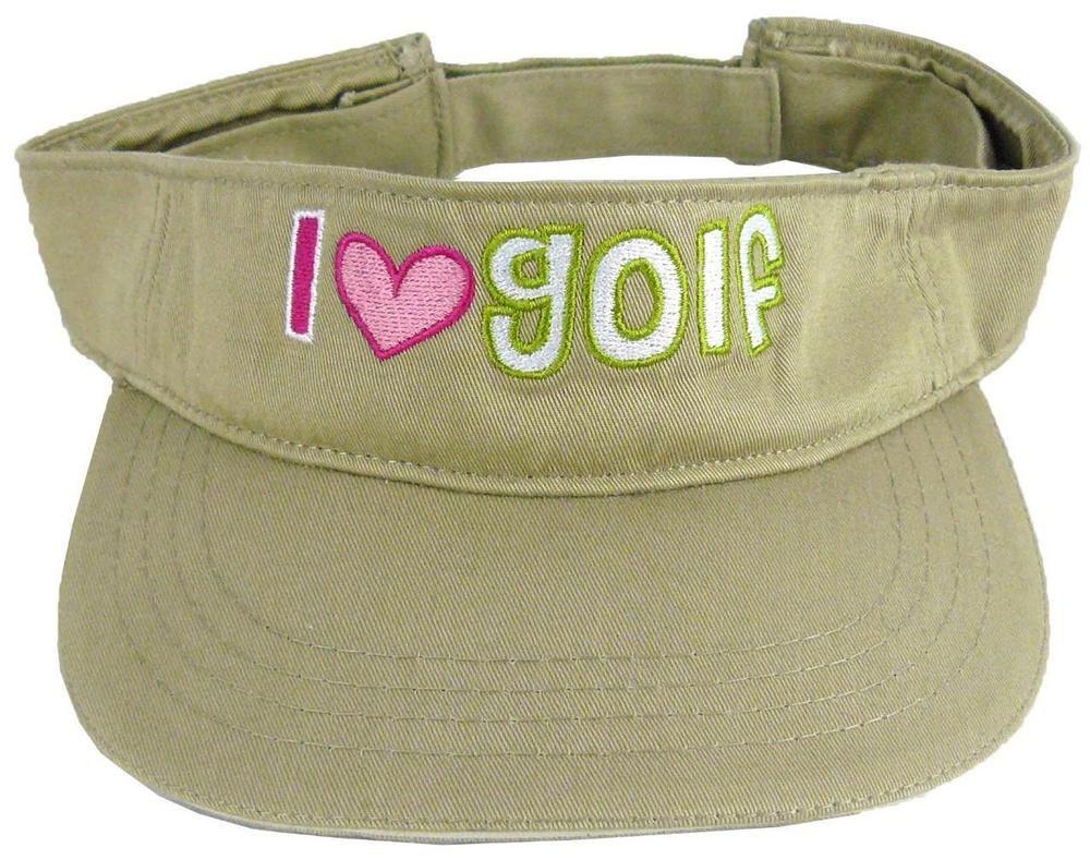 I Love Golf Khaki Beige Visor Golfing Golfer Heart Monogram Sports Match Game #AuthenticPigment #Visor