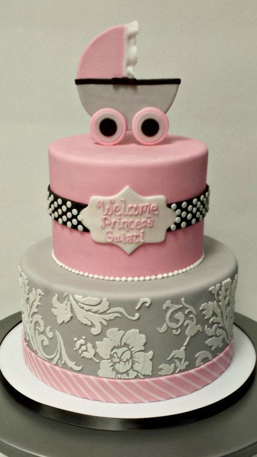 Baby Showers Dc ~ Baby girl shower cake fondant scuplted damask polka