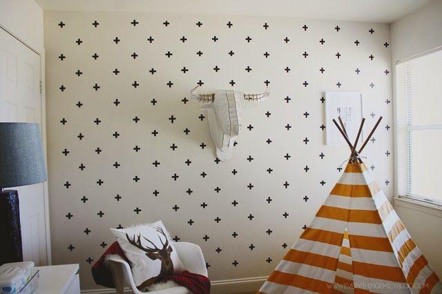 DIY Efecto Papel pintado con Cruces en paredes gotelé Washitape