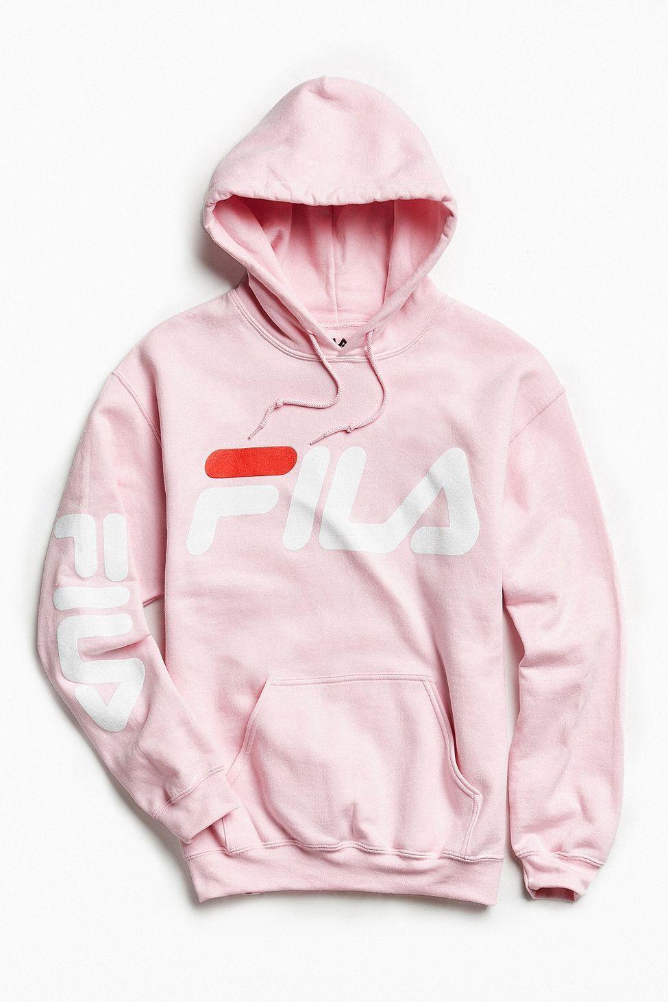a27c4e3e5d83 Urban Outfitters Fila Script Hoodie Sweatshirt - Black S One Size Pink