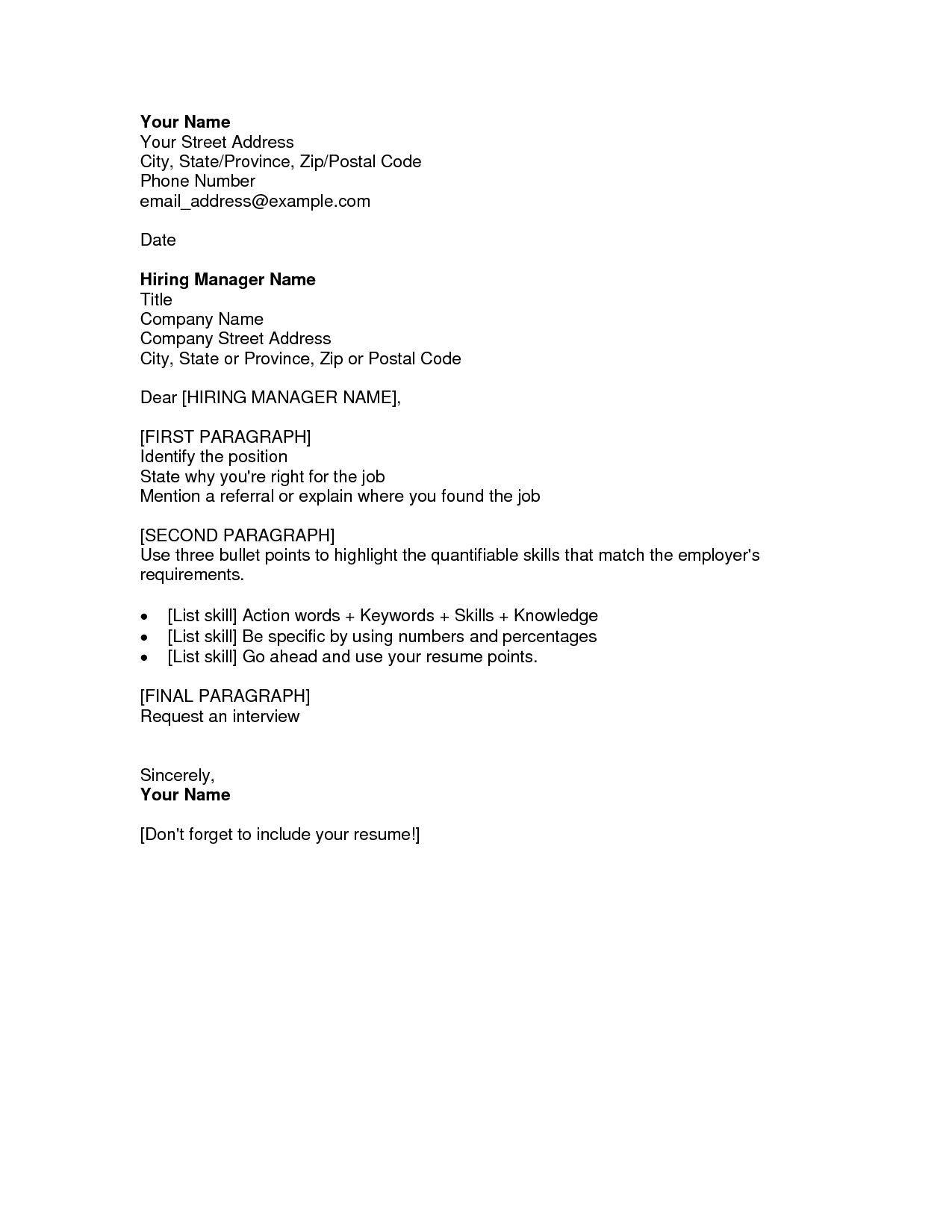 format for writing a cover letter