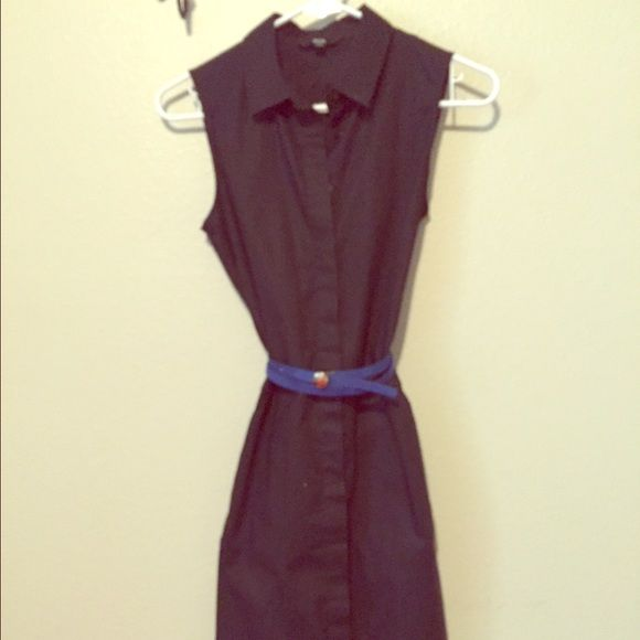 Vintage Button Down Dress Very cute navy button down vintage dress! It fits snug all the way down to mid thigh with a cute slit in the back.  NO TRADES  Dresses Mini
