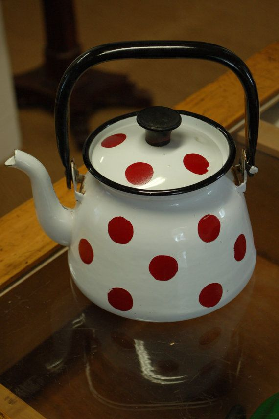 Vintage Polka Dot Tea Pot Dotted Jug White with Red Dots Food Rustic Kitchen Farmhouse Red White Polka Dot Teapot Vintage Soviet Red White