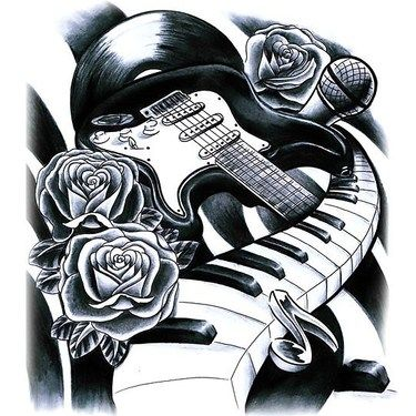 Guitar Piano And Microphone Tattoo Design Music Tattoo Sleeves
