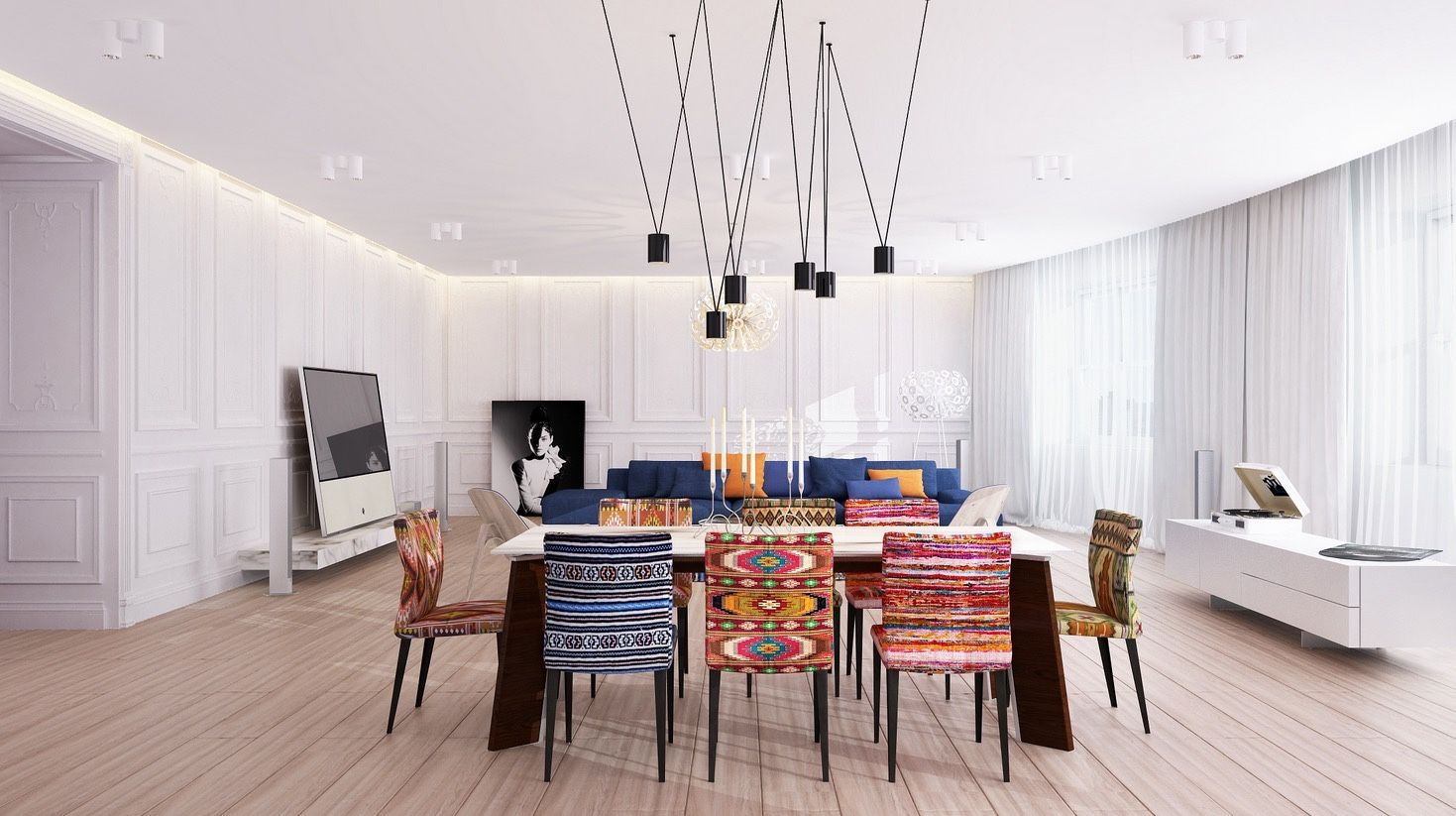 Eclectic Dining Room With Colorful Chairs