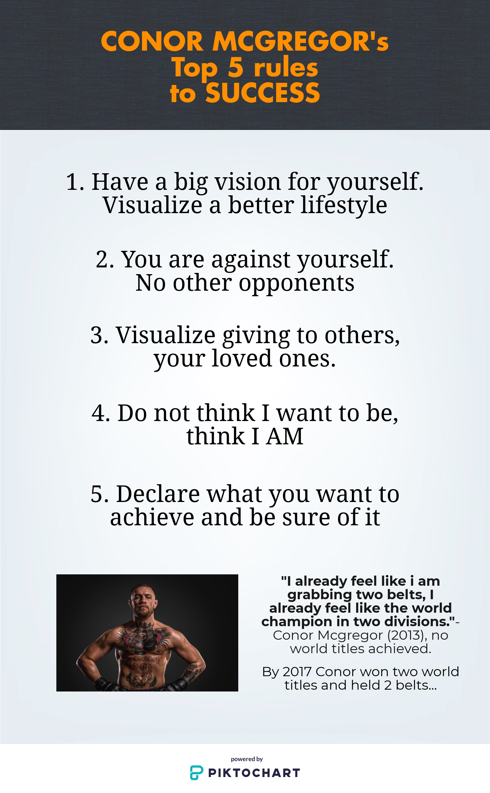 Conor Mcgregor S 5 Rules To Success Conor Speaks And Explains His Top 5 Rules That Enable Him To Be Successful Achieve H Conor Mcgregor Success Visualisation