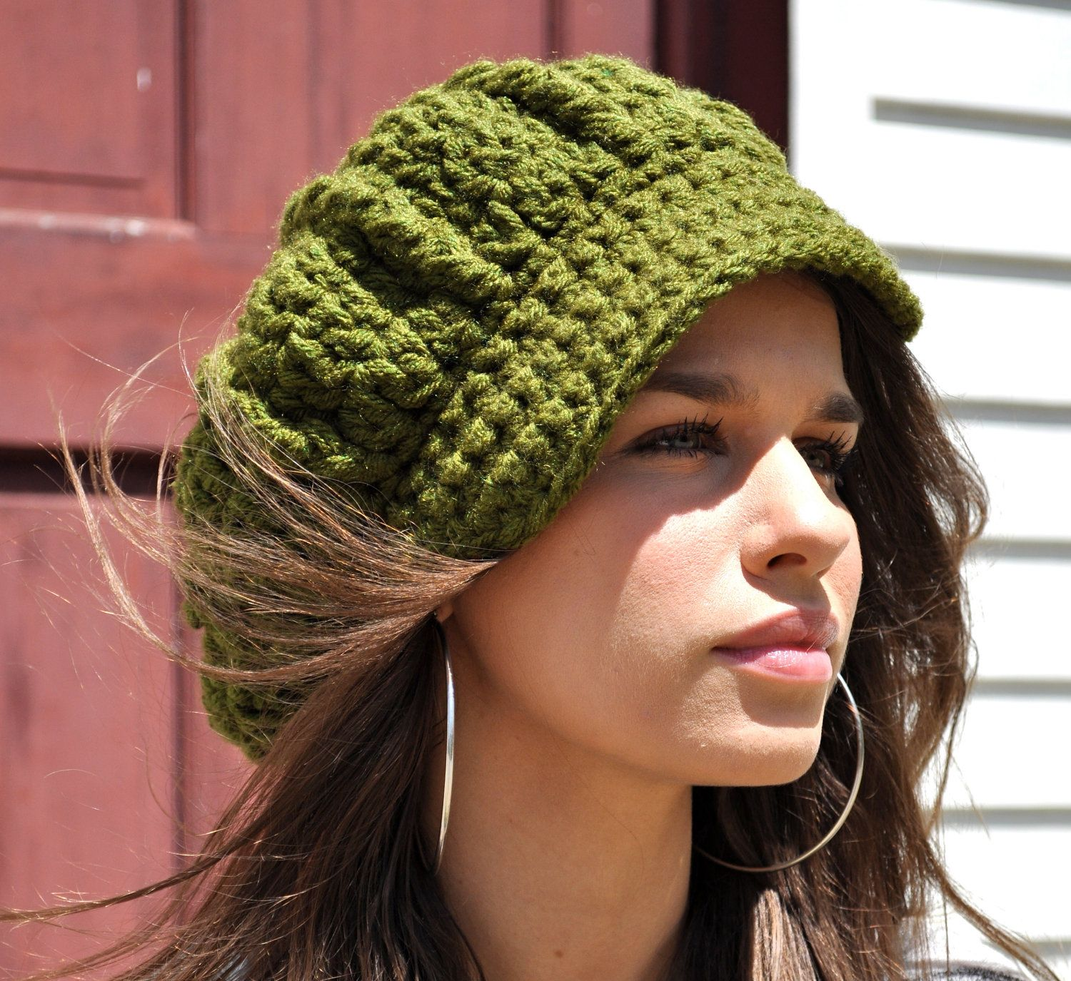 Women\'s Crochet Newsboy Hat with Brim - Olive Green Hat - Gift for ...