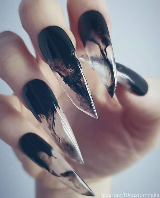 We Are Seriously Digging These Watery Black Clear Claws From Perfect10customnails Altnails Gothicnails Cla Lipstick Nails Shape Gothic Nails Squoval Nails