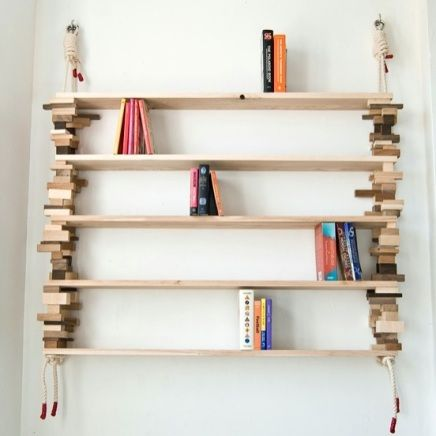 Easy DIY Shelves - Recycled Wood Block Shelf / Room Divider