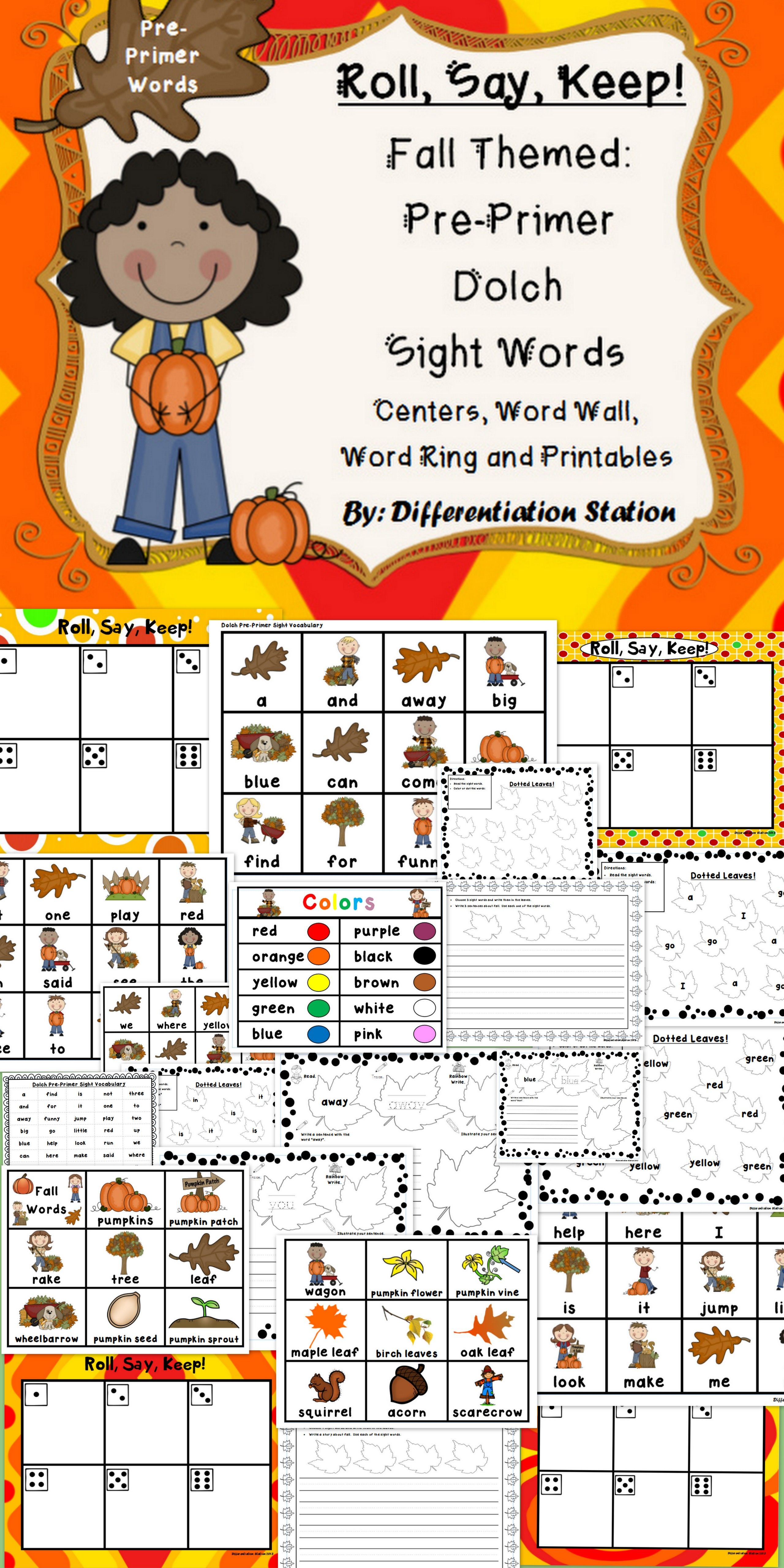 Fall Roll Say Keep Pre Primer Dolch Sight Word Center