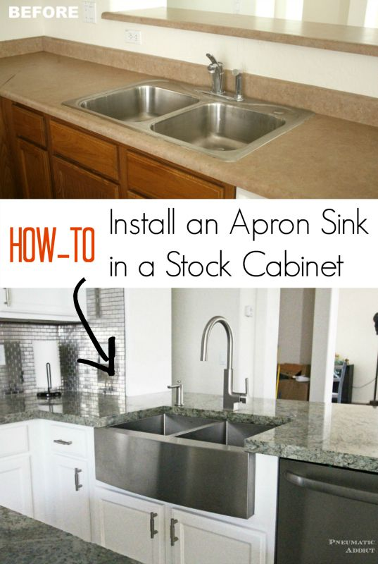 How To Install An Apron Sink In A Stock Cabinet Kitchen Sink Remodel Apron Sink Farmhouse Sink Installation