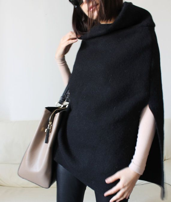 wool poncho black wool cape black poncho women by Afycollection