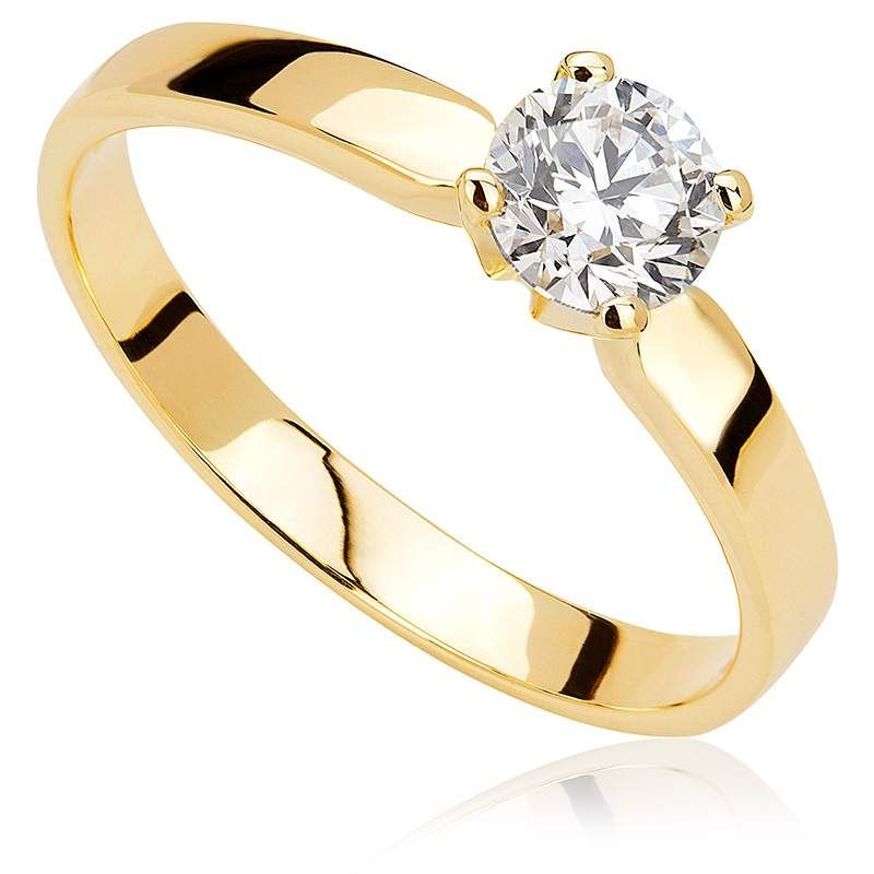 Pierścionek Zaręczynowy Z Brylantem Z żółtego Złota P0211zb