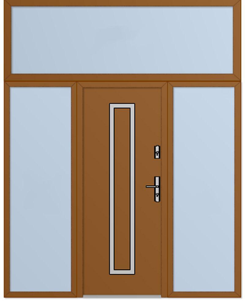 Custom Configuration Fargo Door With Left Right And Top Sidelights External Double Doors Double Front Entry Doors Doors