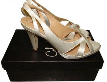 Stuart Weitzman Ceci Air Mid. Sandal White Satin Formal Shoes