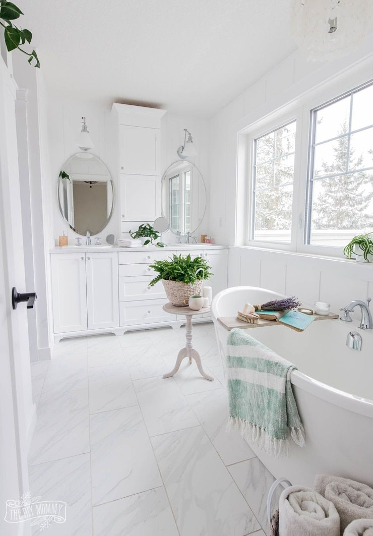 A Gorgeous Cottage Spa Master Bathroom 2019 Spring Orc Week 6 Reveal The Diy Mommy In 2020 Cottage Style Bathrooms Bathroom Design Inspiration Spa Master Bathroom