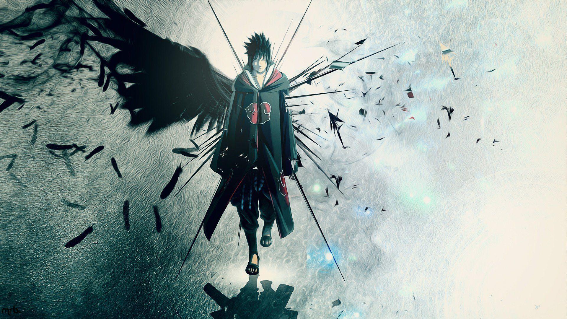 Wings Uchiha Sasuke Naruto Shippuden Akatsuki Feathers Artwork