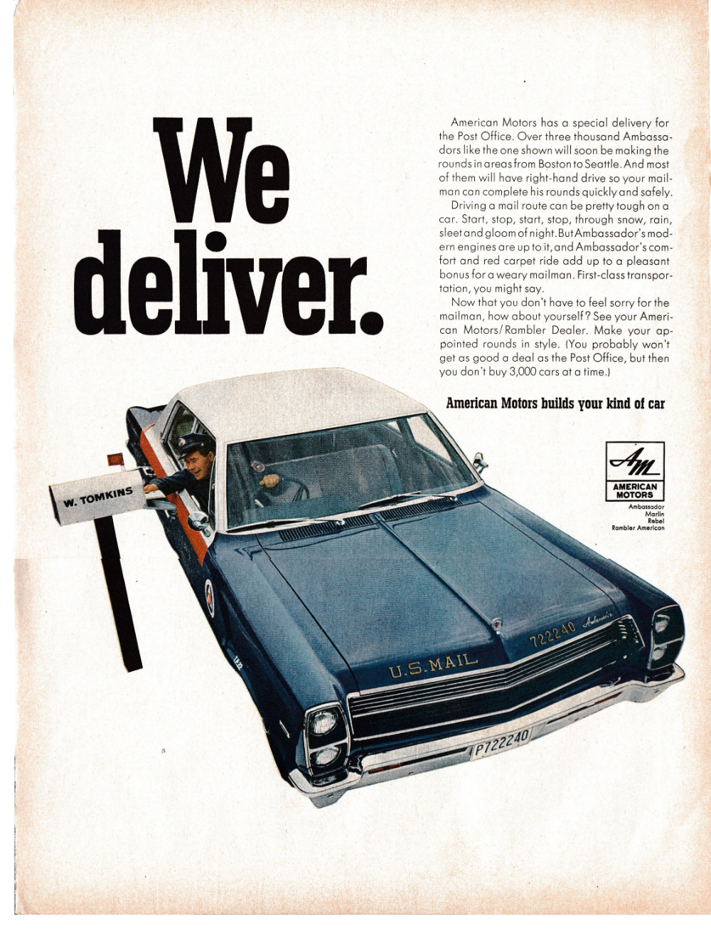 1967 Amc Ambassador Usps Vehicle Right Hand Drive Original Etsy