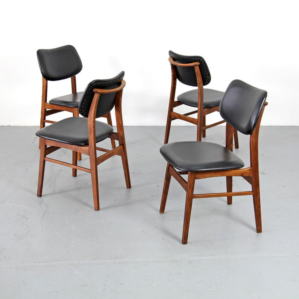 Details About 4 Mid Century Modern Dining Chairs W Skai 60s
