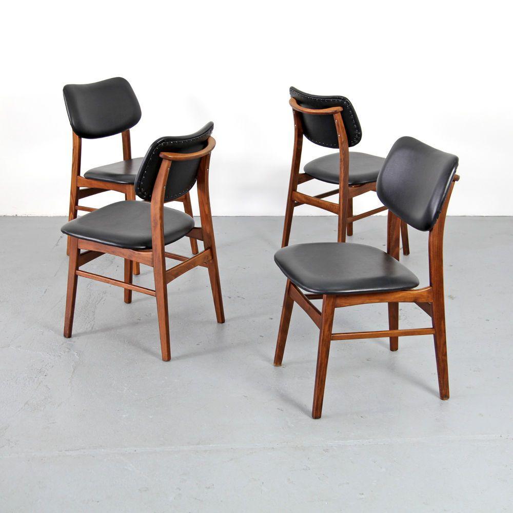 4 Mid Century Modern Dining Chairs w  Skai 60s   Danish Teak St hle 50er  60erPynock stoelen uit de jaren 60 per stuk 115   stoelen   Pinterest  . Mid Century Modern Chairs Ebay. Home Design Ideas