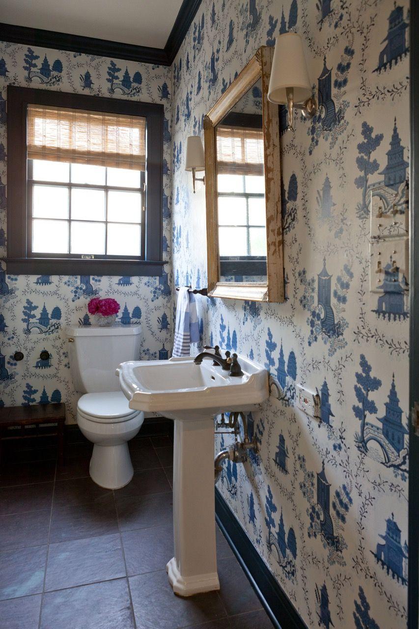 Powder Room By Amy Kartheiser Design: Waterhouse Wallhangings Wallpaper With Hague Blue Trim