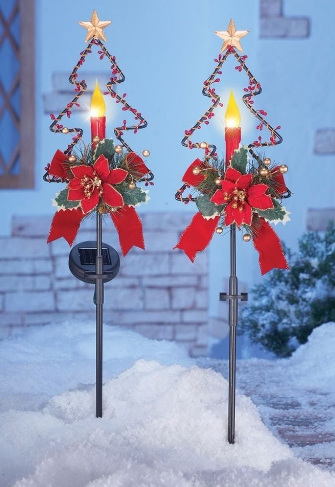 Solar Ed Christmas Holiday Decor Festive Candle Garden Stakes Set Of 2 Stake Gardenstake Solared Festivecandles