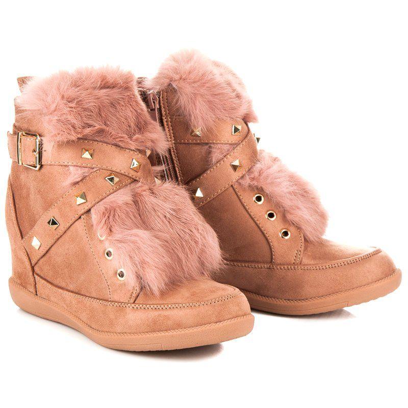 Kylie Sneakersy Z Futerkiem Rozowe Pink Sneakers Boots Boot Shoes Women